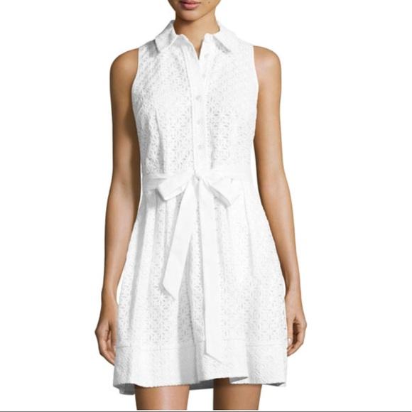 a2bb18425f8 Milly Dresses | White Sleeveless Cotton Eyelet Shirt Dress | Poshmark